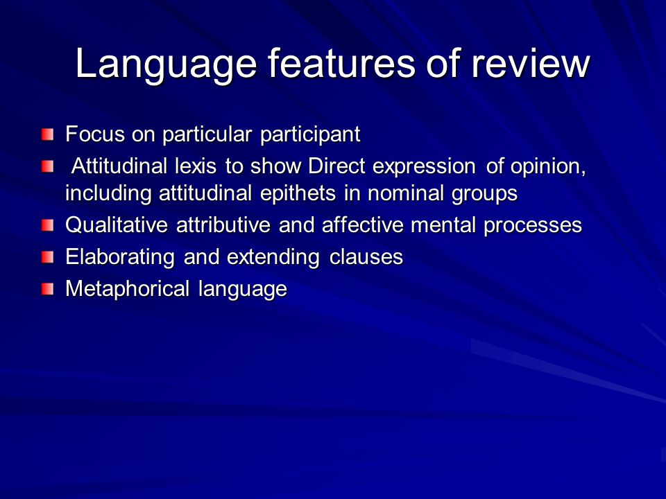Language features of review