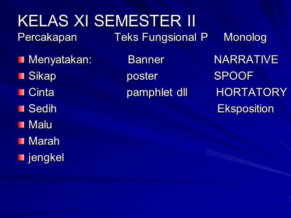 KELAS XI SEMESTER II Percakapan Teks Fungsional P Monolog