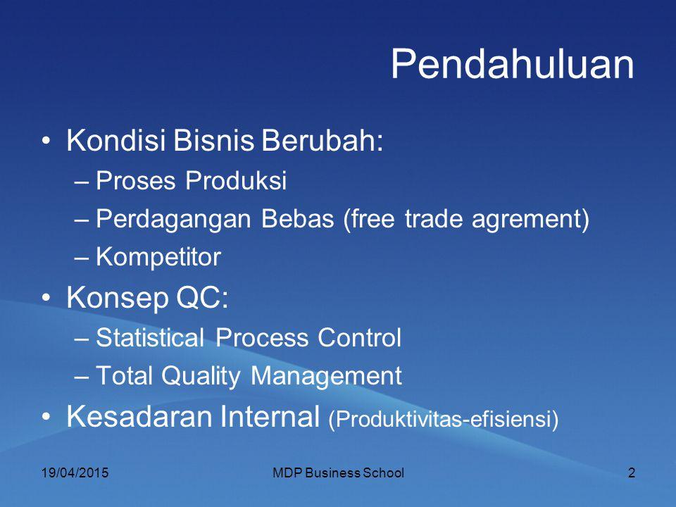 Pendahuluan Kondisi Bisnis Berubah: Konsep QC: