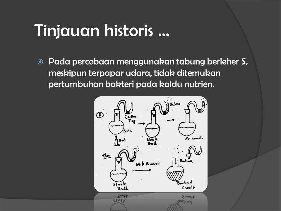 Tinjauan historis … Pada percobaan menggunakan tabung berleher S, meskipun terpapar udara, tidak ditemukan pertumbuhan bakteri pada kaldu nutrien.