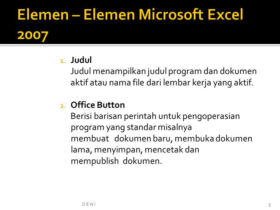 Elemen – Elemen Microsoft Excel 2007
