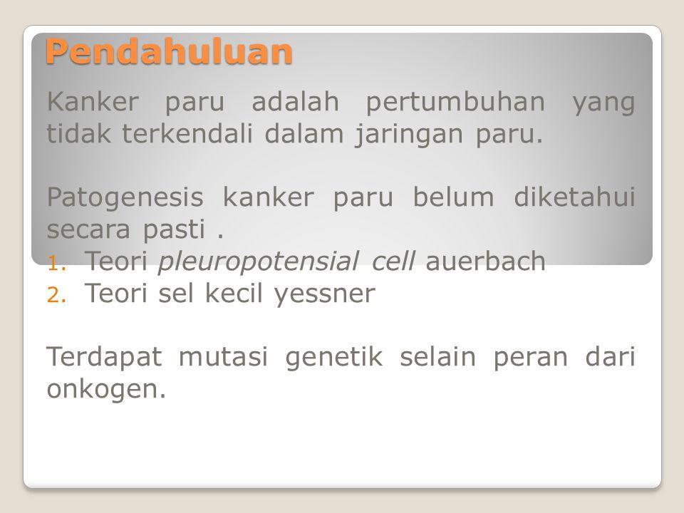 Pendahuluan Kanker paru adalah pertumbuhan yang tidak terkendali dalam jaringan paru. Patogenesis kanker paru belum diketahui secara pasti .