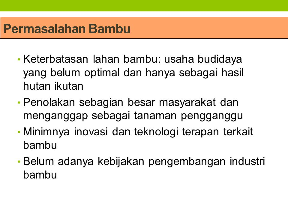 Permasalahan Bambu Keterbatasan lahan bambu: usaha budidaya yang belum optimal dan hanya sebagai hasil hutan ikutan.
