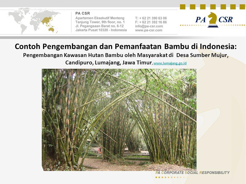 Contoh Pengembangan dan Pemanfaatan Bambu di Indonesia: Pengembangan Kawasan Hutan Bambu oleh Masyarakat di Desa Sumber Mujur, Candipuro, Lumajang, Jawa Timur, www.lumajang.go.id