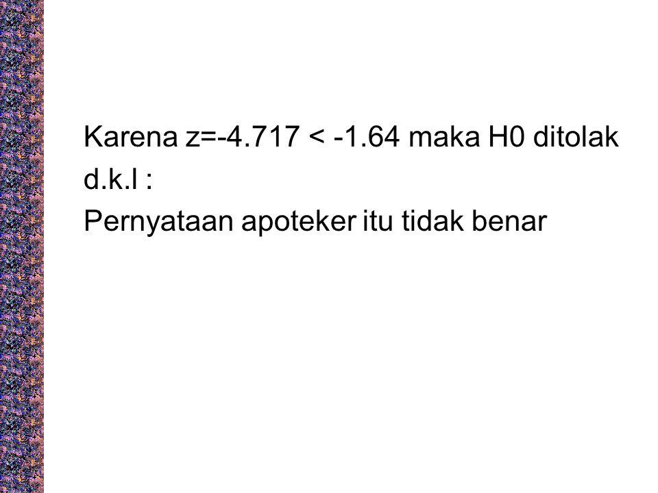 Karena z=-4. 717 < -1. 64 maka H0 ditolak d. k