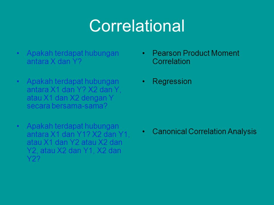 Correlational Apakah terdapat hubungan antara X dan Y