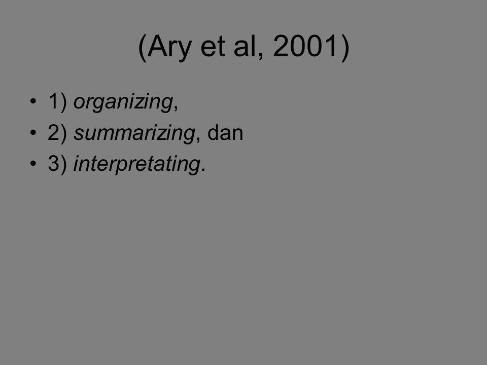 (Ary et al, 2001) 1) organizing, 2) summarizing, dan