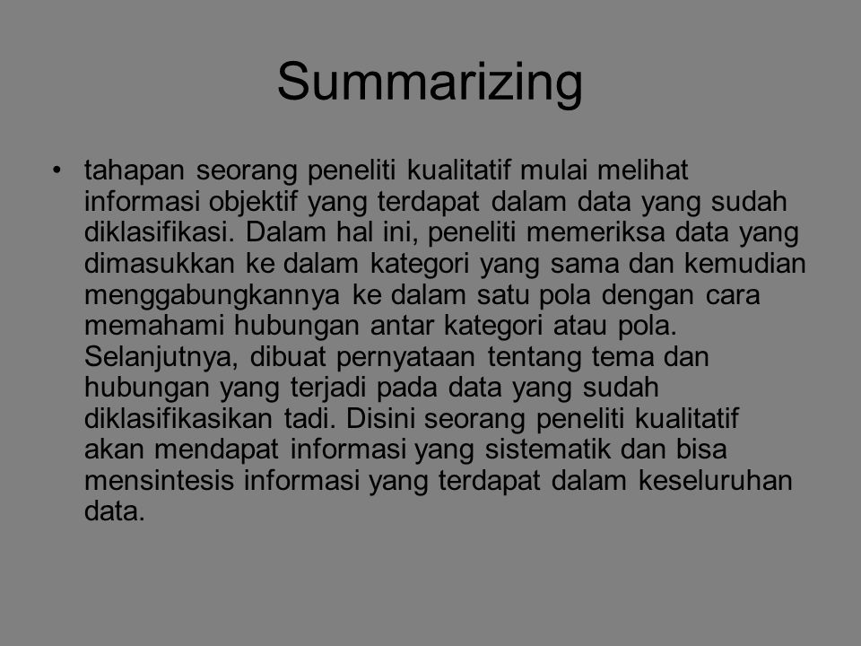 Summarizing