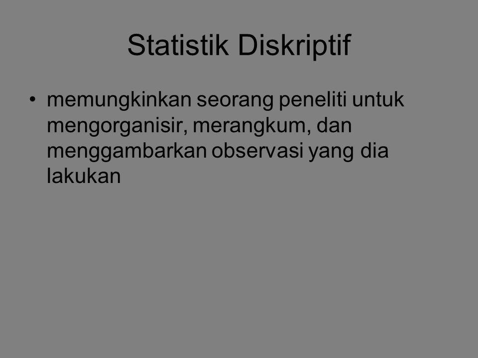 Statistik Diskriptif memungkinkan seorang peneliti untuk mengorganisir, merangkum, dan menggambarkan observasi yang dia lakukan.