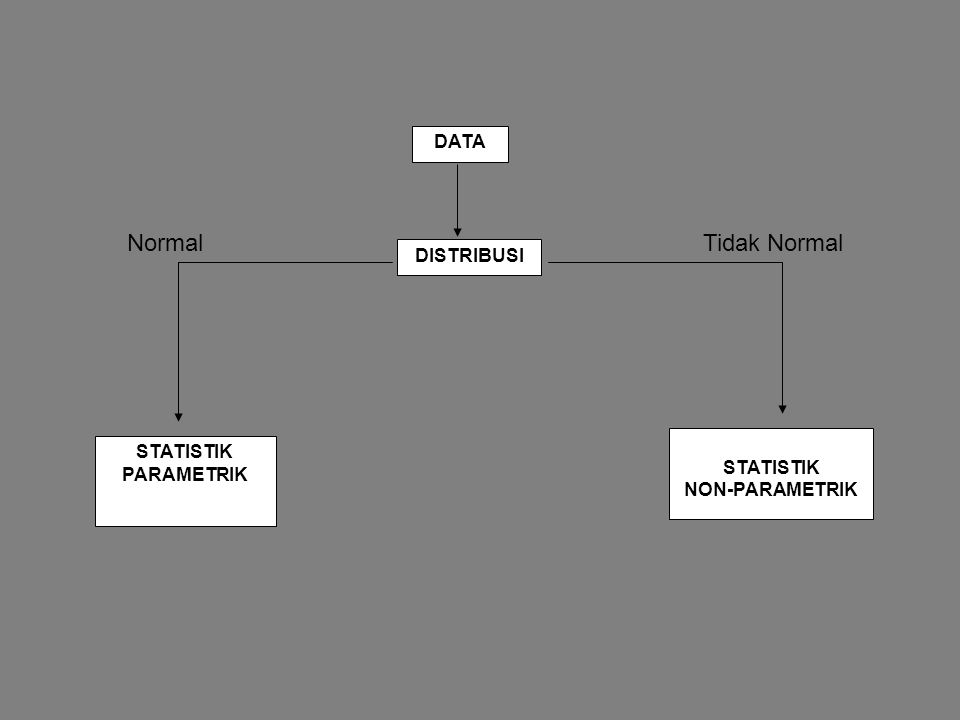 Normal Tidak Normal DATA DISTRIBUSI STATISTIK PARAMETRIK STATISTIK