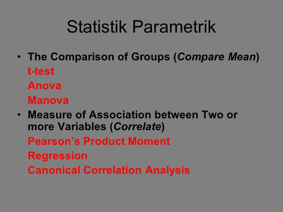 Statistik Parametrik The Comparison of Groups (Compare Mean) t-test