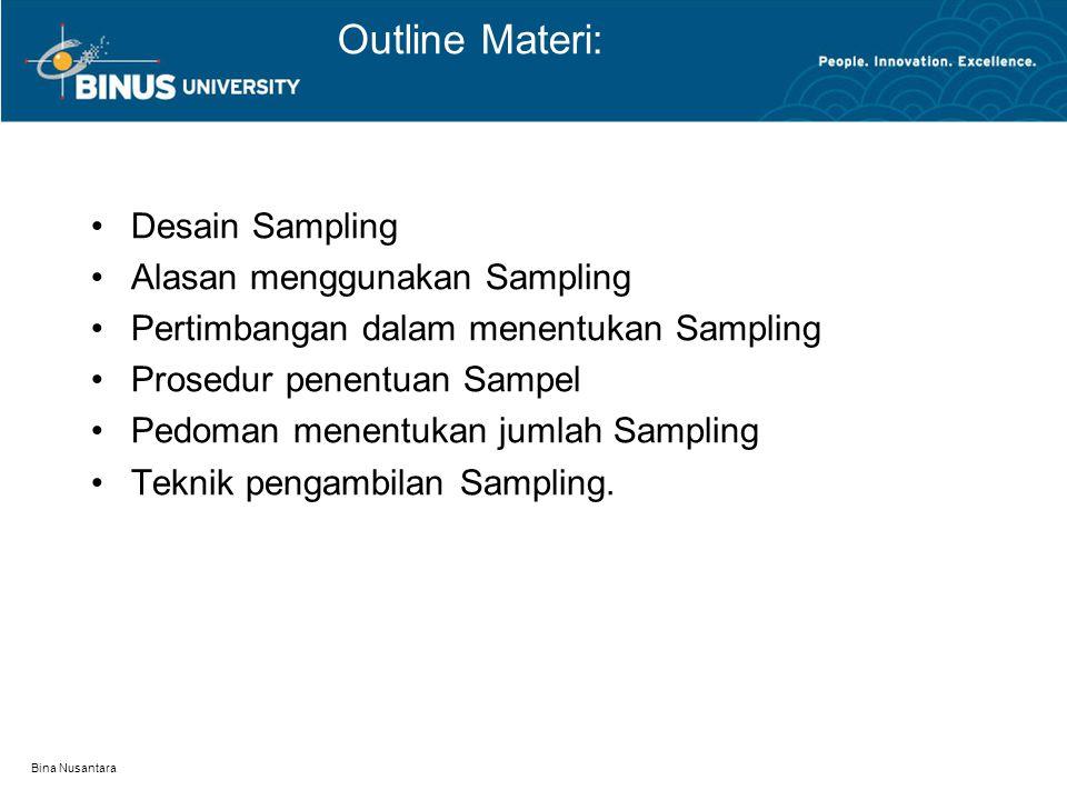 Outline Materi: Desain Sampling Alasan menggunakan Sampling