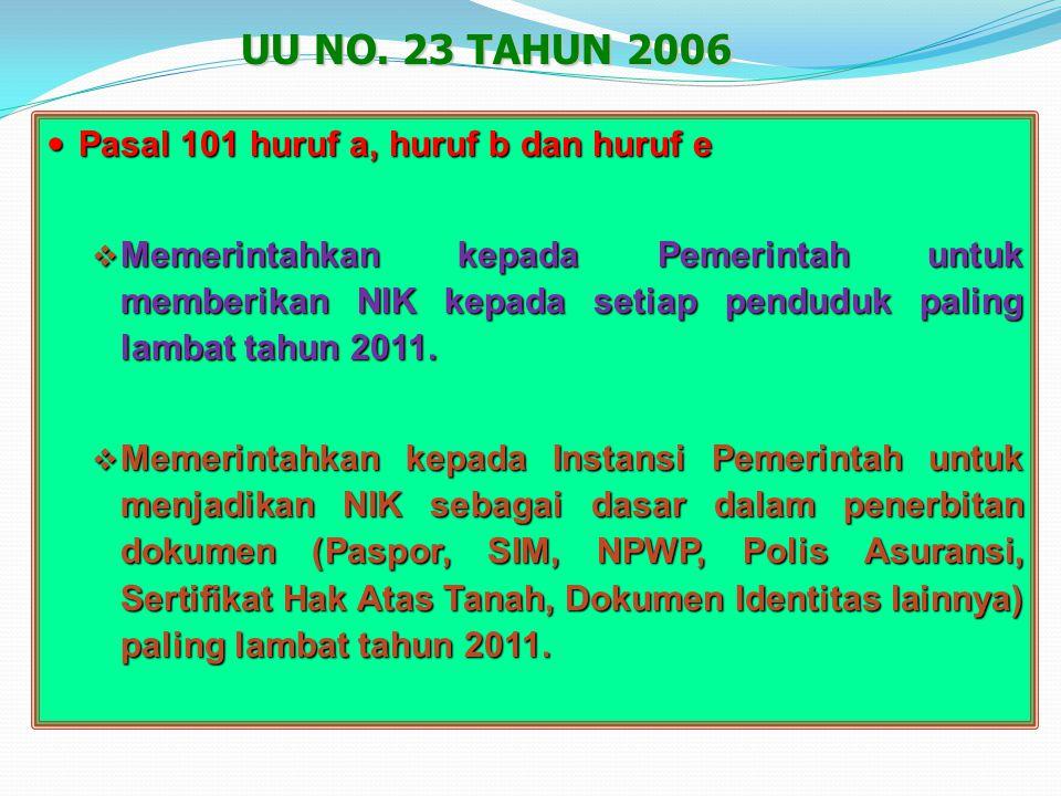 UU NO. 23 TAHUN 2006 Pasal 101 huruf a, huruf b dan huruf e