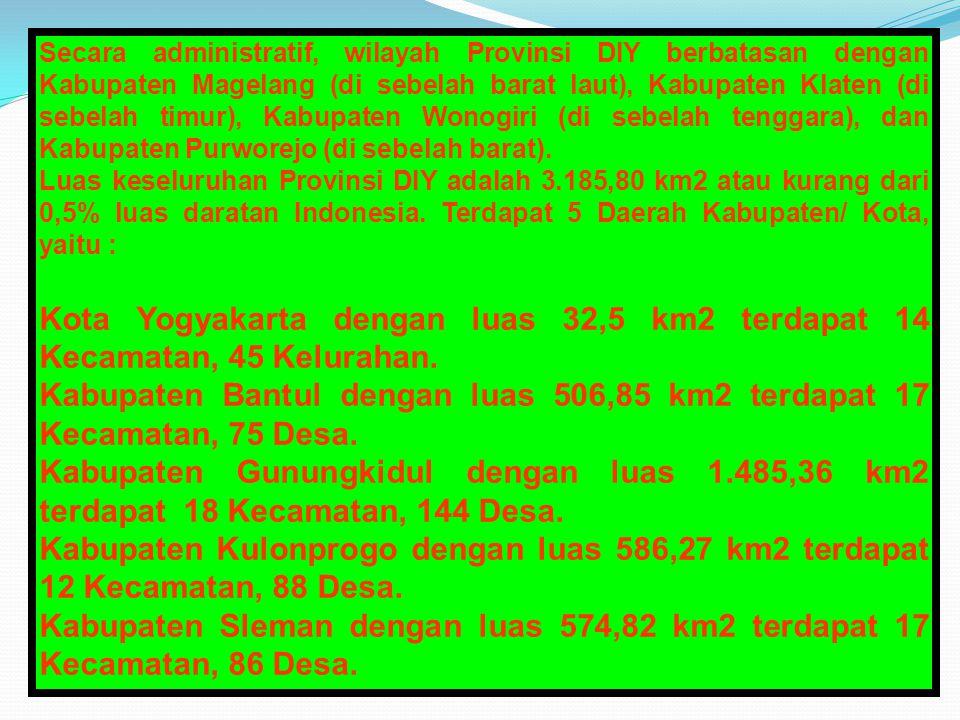 Secara administratif, wilayah Provinsi DIY berbatasan dengan Kabupaten Magelang (di sebelah barat laut), Kabupaten Klaten (di sebelah timur), Kabupaten Wonogiri (di sebelah tenggara), dan Kabupaten Purworejo (di sebelah barat).