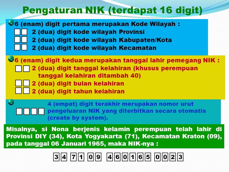 Pengaturan NIK (terdapat 16 digit)