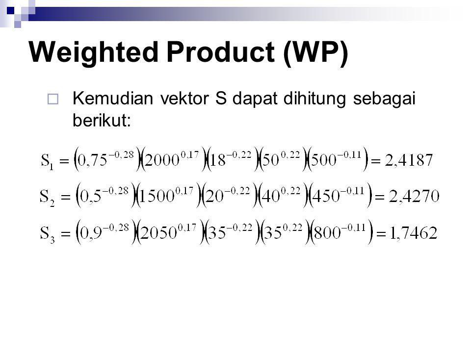 Weighted Product (WP) Kemudian vektor S dapat dihitung sebagai berikut: