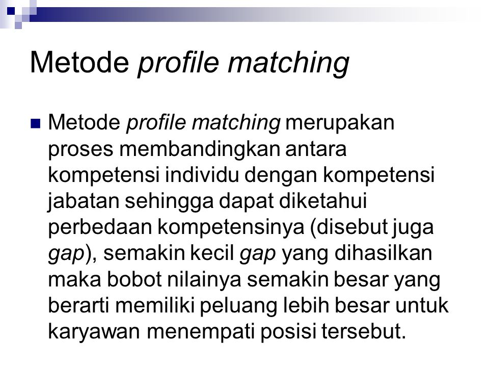 Metode profile matching