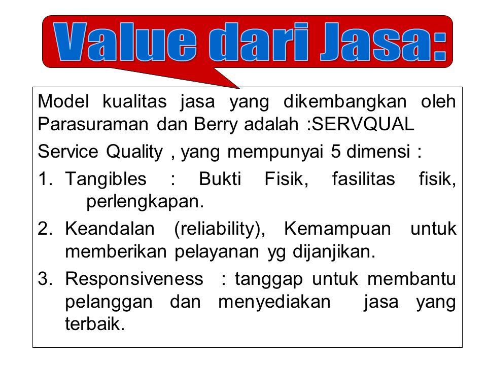 Value dari Jasa: Model kualitas jasa yang dikembangkan oleh Parasuraman dan Berry adalah :SERVQUAL.