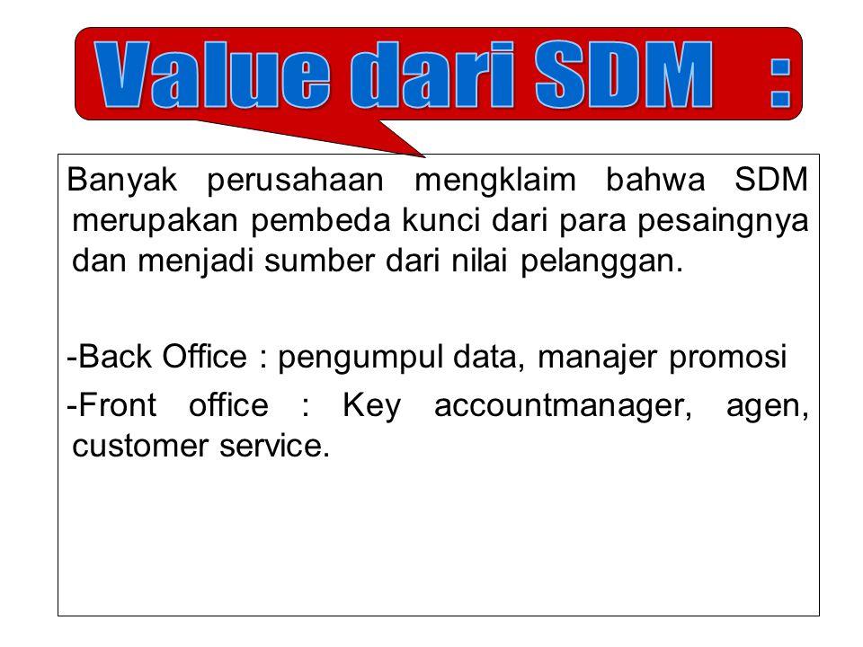 Value dari SDM : Banyak perusahaan mengklaim bahwa SDM merupakan pembeda kunci dari para pesaingnya dan menjadi sumber dari nilai pelanggan.