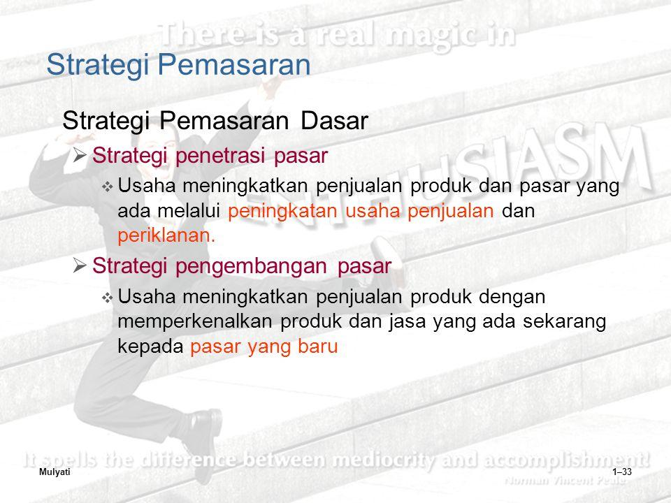 Strategi Pemasaran Strategi Pemasaran Dasar Strategi penetrasi pasar