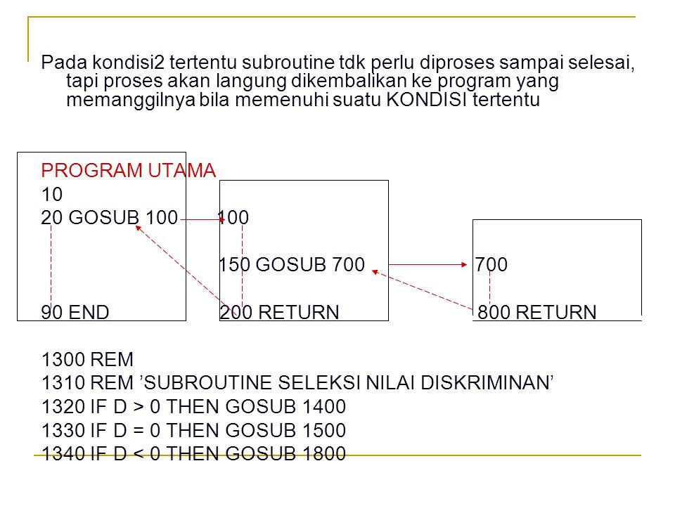 Pada kondisi2 tertentu subroutine tdk perlu diproses sampai selesai, tapi proses akan langung dikembalikan ke program yang memanggilnya bila memenuhi suatu KONDISI tertentu