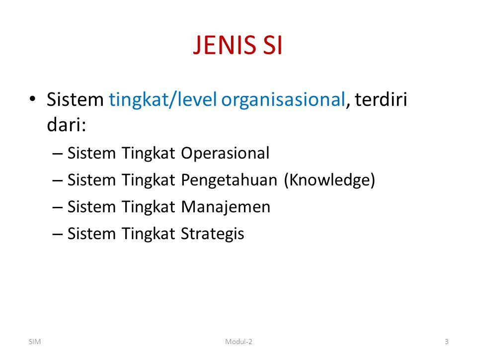 JENIS SI Sistem tingkat/level organisasional, terdiri dari:
