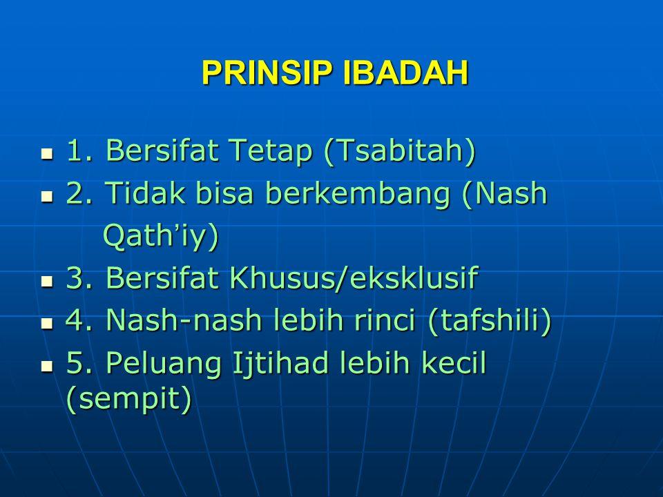 PRINSIP IBADAH 1. Bersifat Tetap (Tsabitah)
