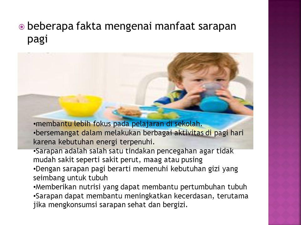 beberapa fakta mengenai manfaat sarapan pagi