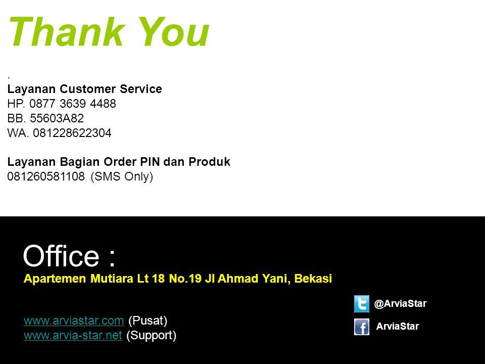 Thank You . Layanan Customer Service HP. 0877 3639 4488 BB. 55603A82 WA. 081228622304. Layanan Bagian Order PIN dan Produk 081260581108 (SMS Only)