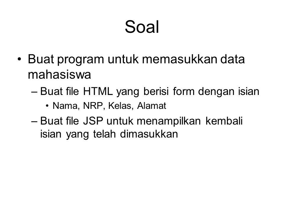 Soal Buat program untuk memasukkan data mahasiswa