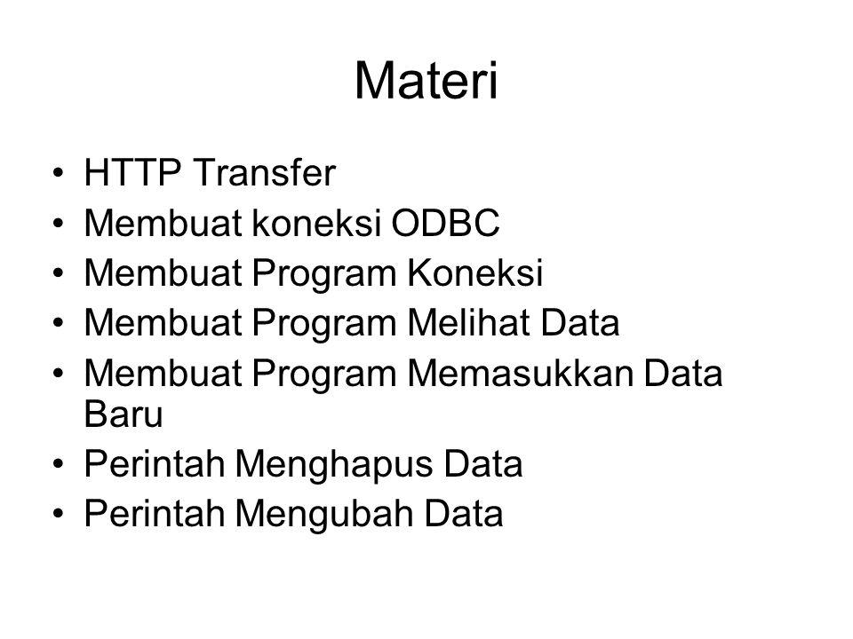 Materi HTTP Transfer Membuat koneksi ODBC Membuat Program Koneksi