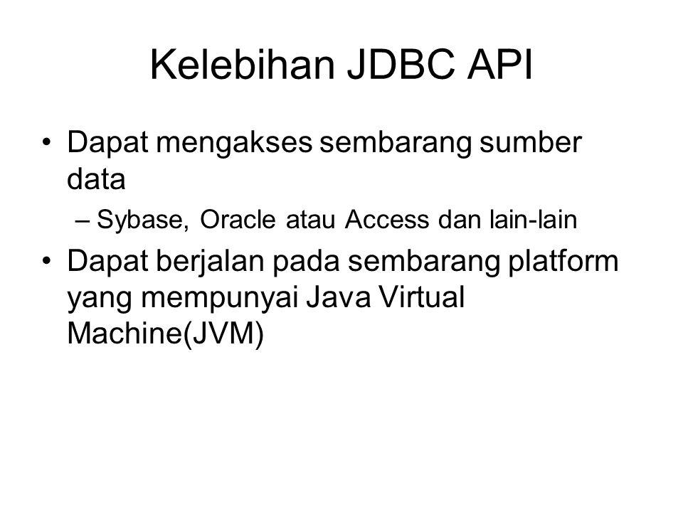 Kelebihan JDBC API Dapat mengakses sembarang sumber data