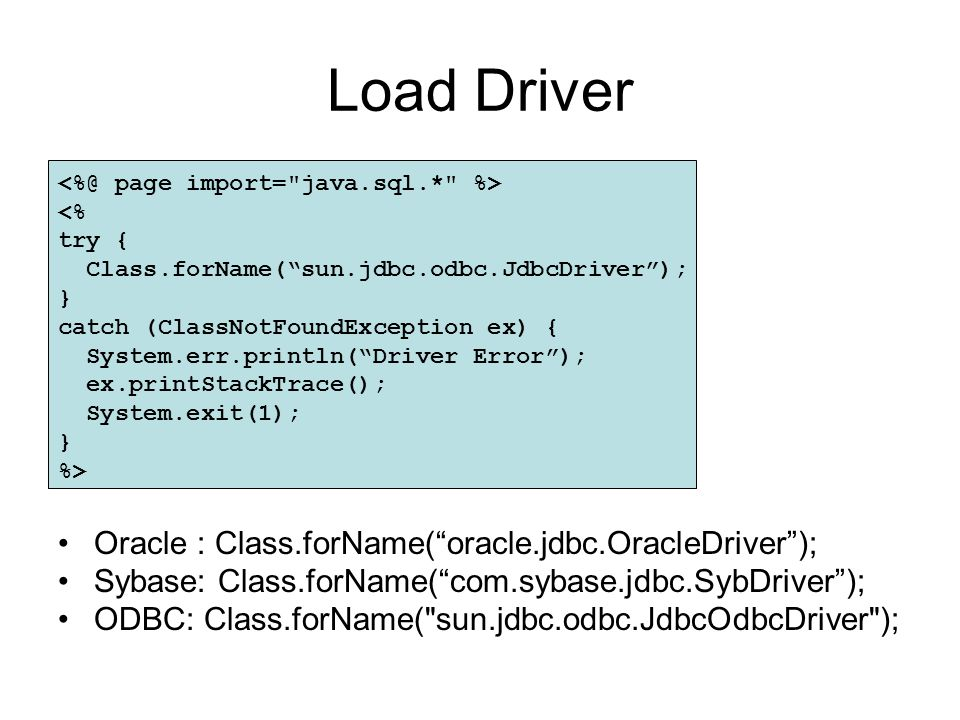 Load Driver Oracle : Class.forName( oracle.jdbc.OracleDriver );