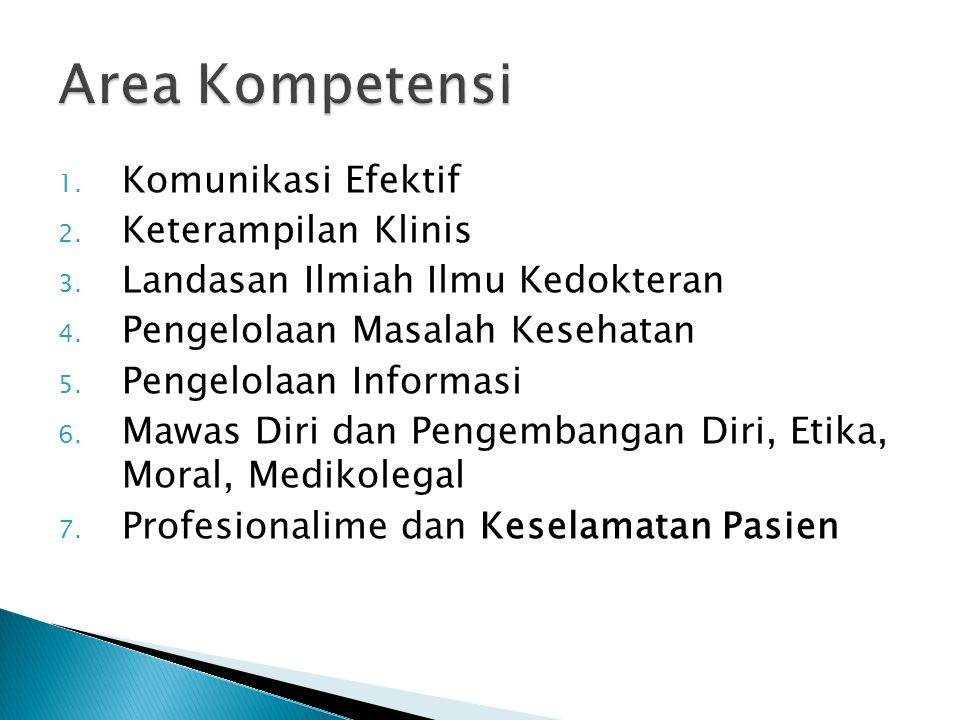 Area Kompetensi Komunikasi Efektif Keterampilan Klinis