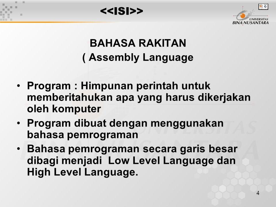 <<ISI>> BAHASA RAKITAN. ( Assembly Language. Program : Himpunan perintah untuk memberitahukan apa yang harus dikerjakan oleh komputer.