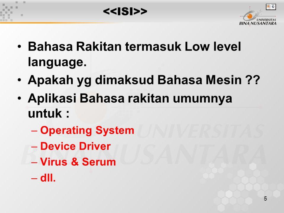 Bahasa Rakitan termasuk Low level language.