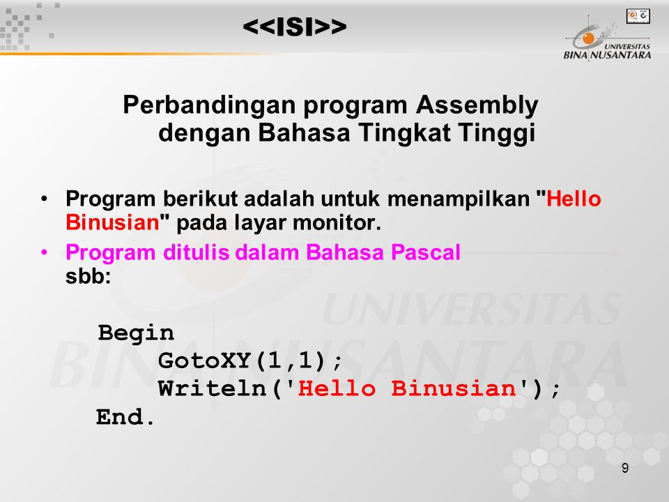 Perbandingan program Assembly dengan Bahasa Tingkat Tinggi