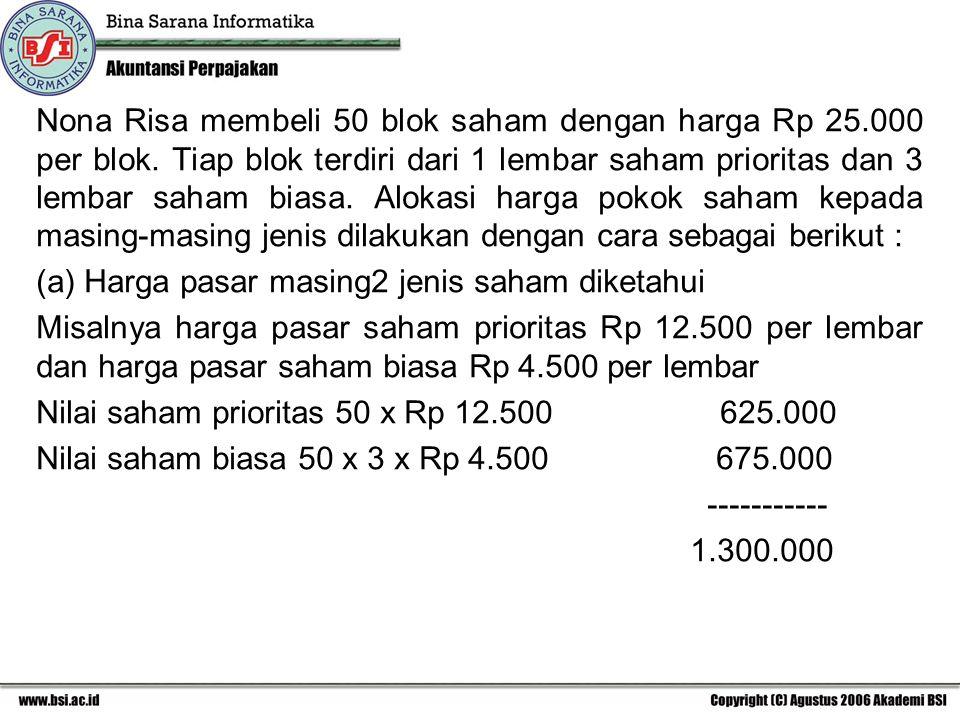 Nona Risa membeli 50 blok saham dengan harga Rp 25. 000 per blok