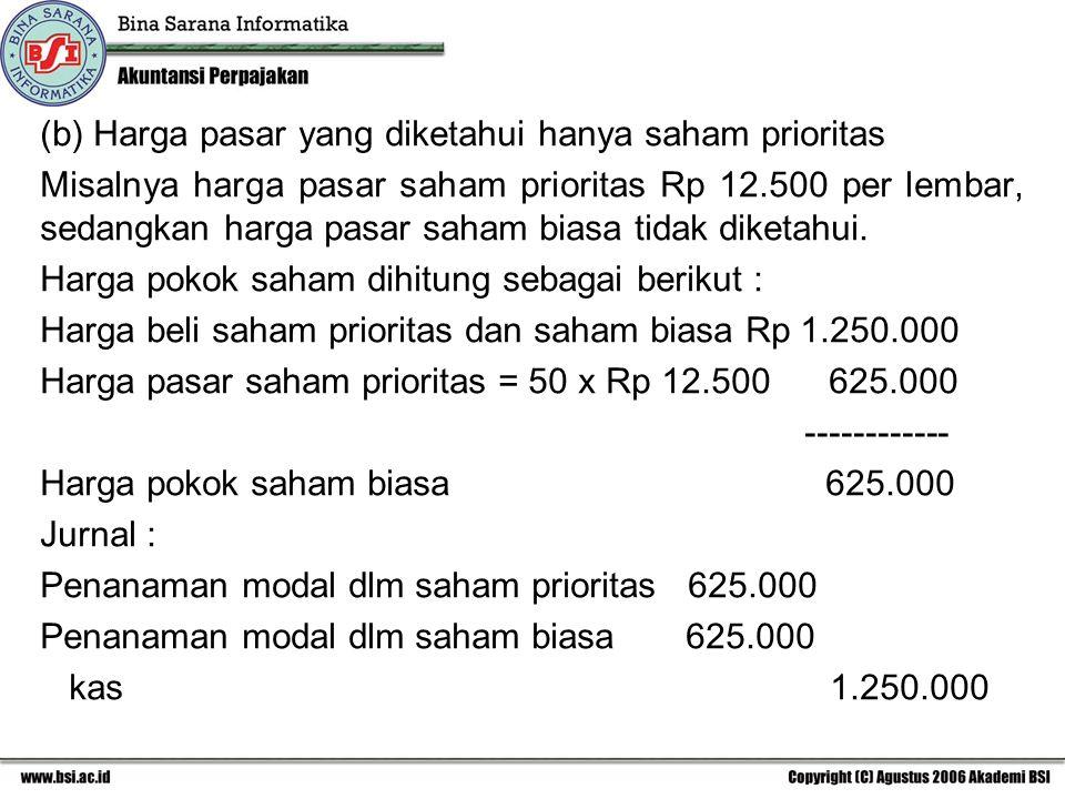 (b) Harga pasar yang diketahui hanya saham prioritas