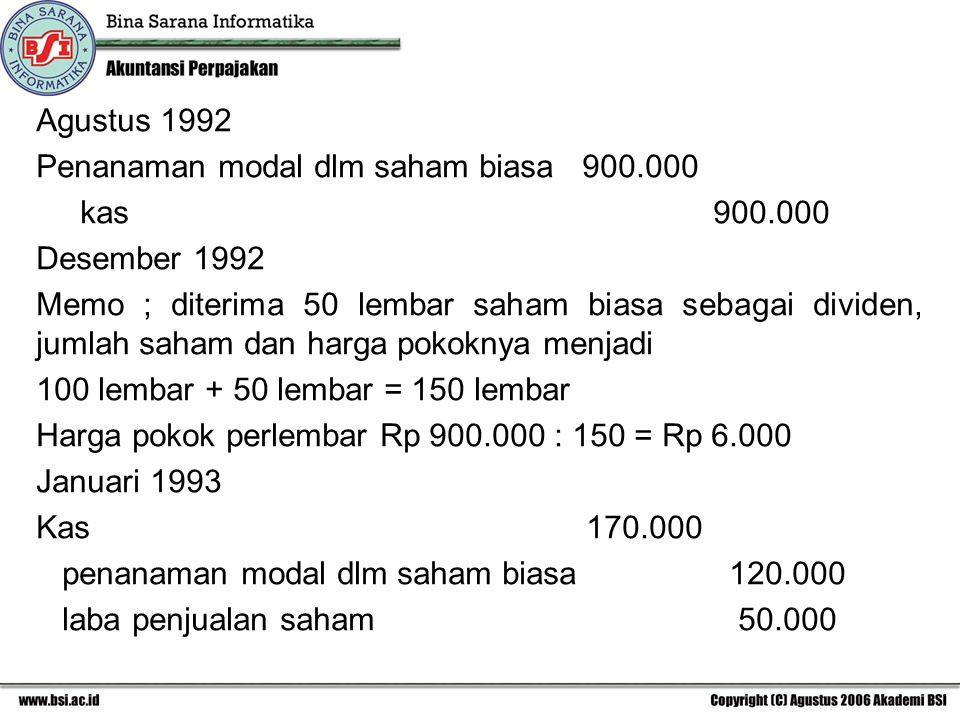 Agustus 1992 Penanaman modal dlm saham biasa 900.000. kas 900.000.