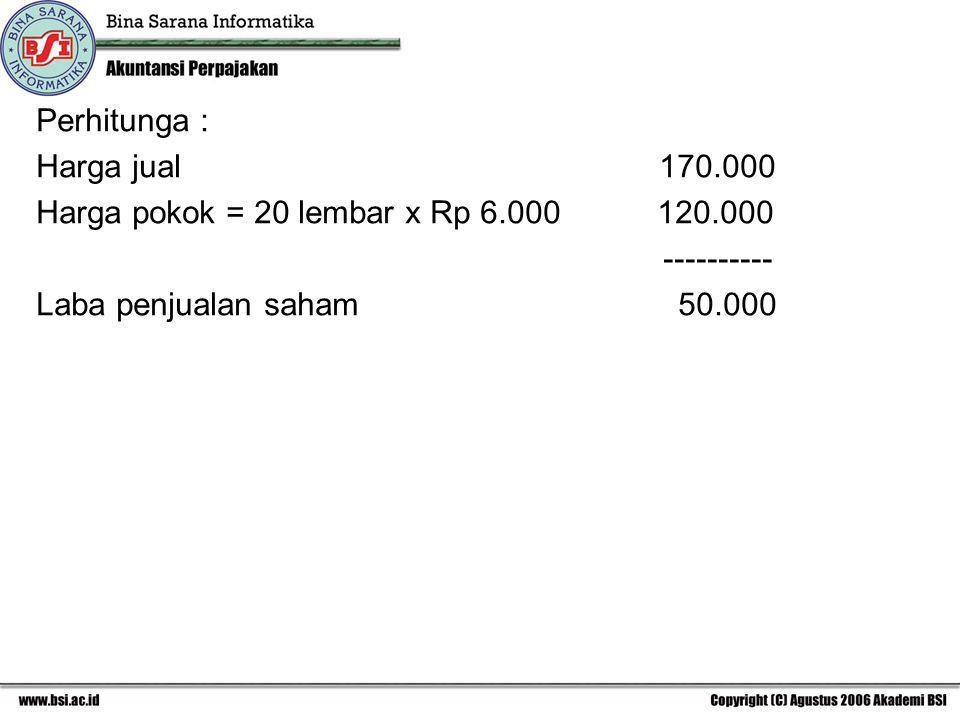 Perhitunga : Harga jual 170.000. Harga pokok = 20 lembar x Rp 6.000 120.000.