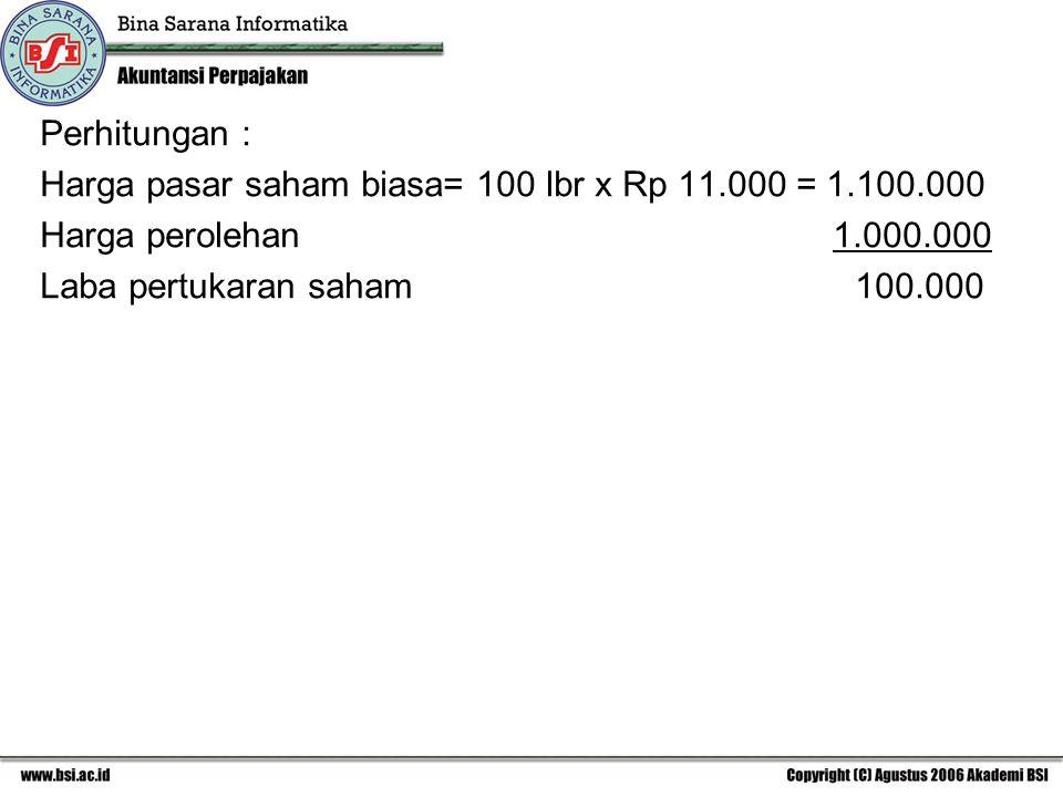 Perhitungan : Harga pasar saham biasa= 100 lbr x Rp 11.000 = 1.100.000.