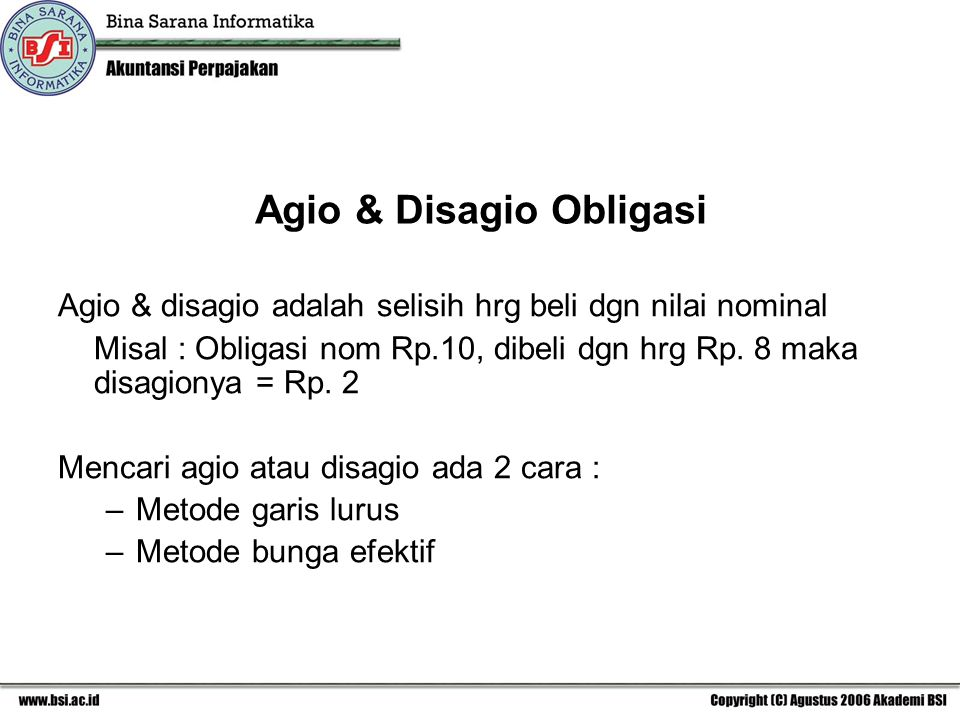 Agio & Disagio Obligasi
