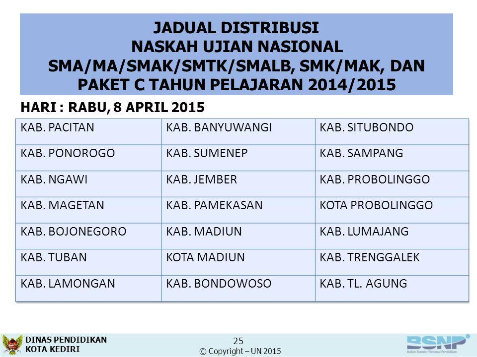 JADUAL DISTRIBUSI NASKAH UJIAN NASIONAL SMA/MA/SMAK/SMTK/SMALB, SMK/MAK, DAN PAKET C TAHUN PELAJARAN 2014/2015.