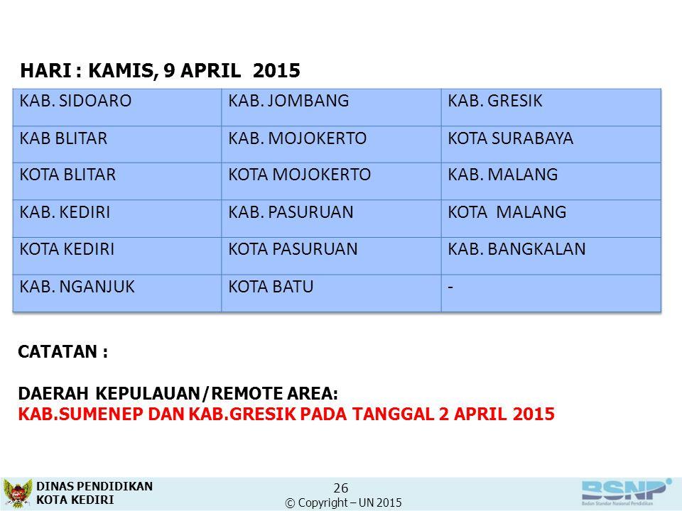 HARI : KAMIS, 9 APRIL 2015 KAB. SIDOARO KAB. JOMBANG KAB. GRESIK