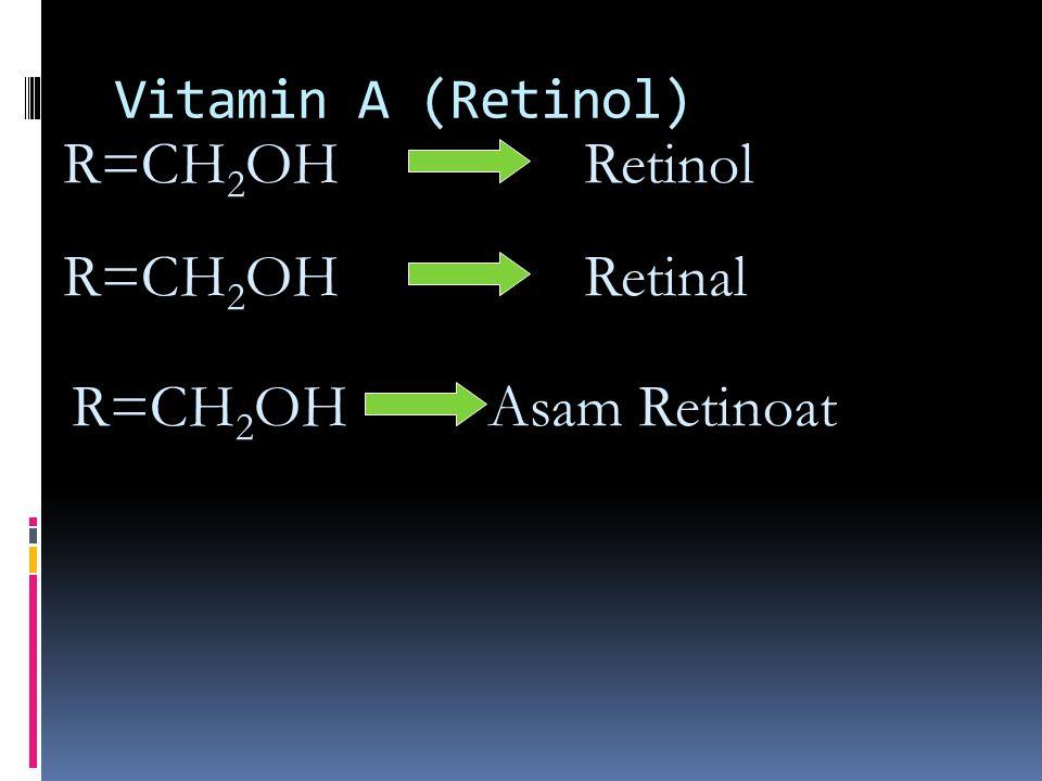 R=CH2OH Retinol R=CH2OH Retinal R=CH2OH Asam Retinoat