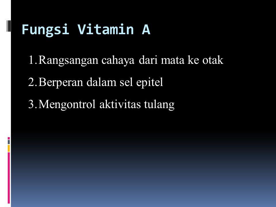 Fungsi Vitamin A Rangsangan cahaya dari mata ke otak