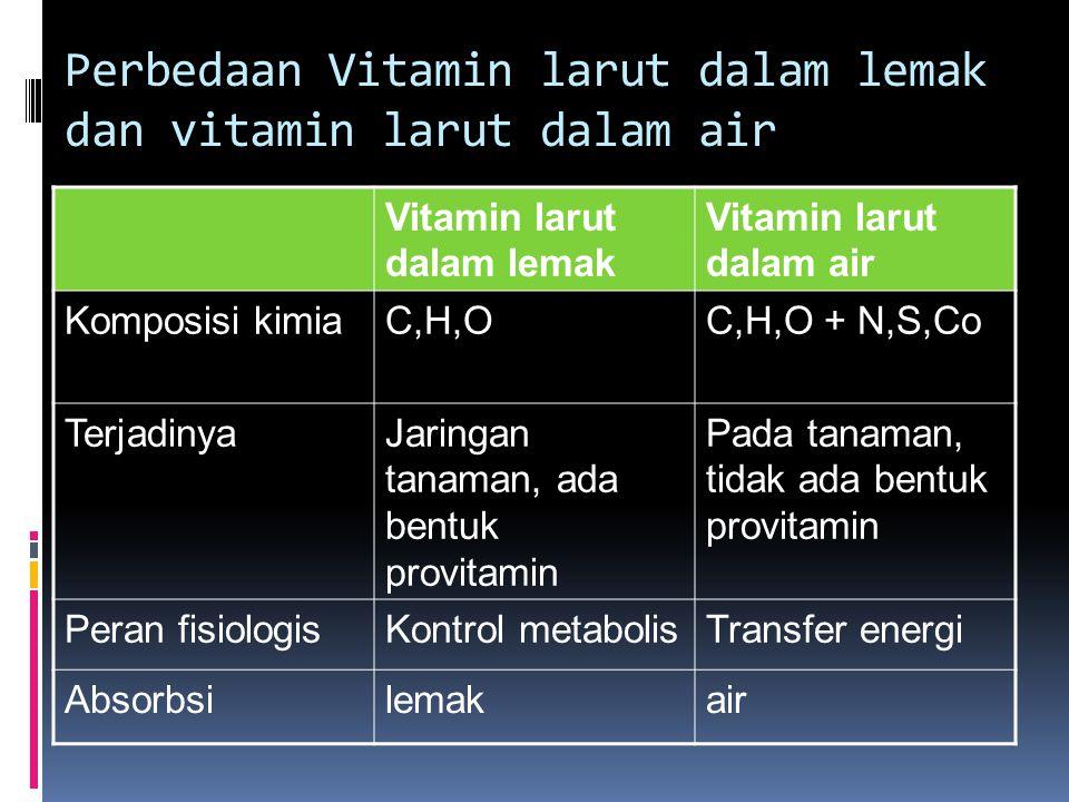 Perbedaan Vitamin larut dalam lemak dan vitamin larut dalam air