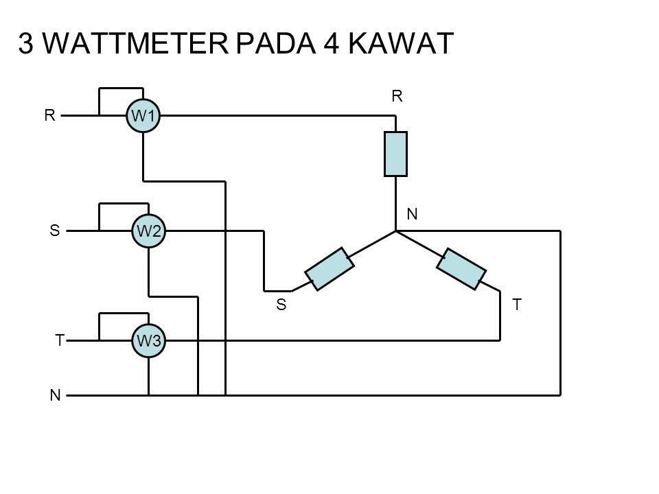 3 WATTMETER PADA 4 KAWAT R R W1 N S W2 S T T W3 N