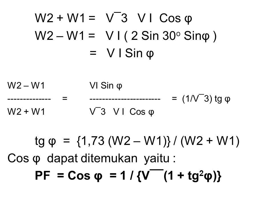 Cos φ dapat ditemukan yaitu : PF = Cos φ = 1 / {V¯¯(1 + tg2φ)}